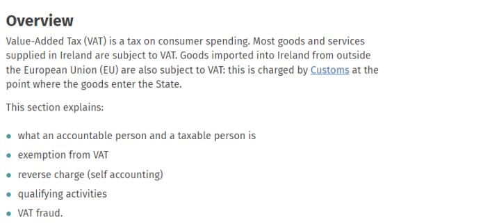 stiva teo , 愛爾蘭知識, VAT, 稅, VAT 的解釋