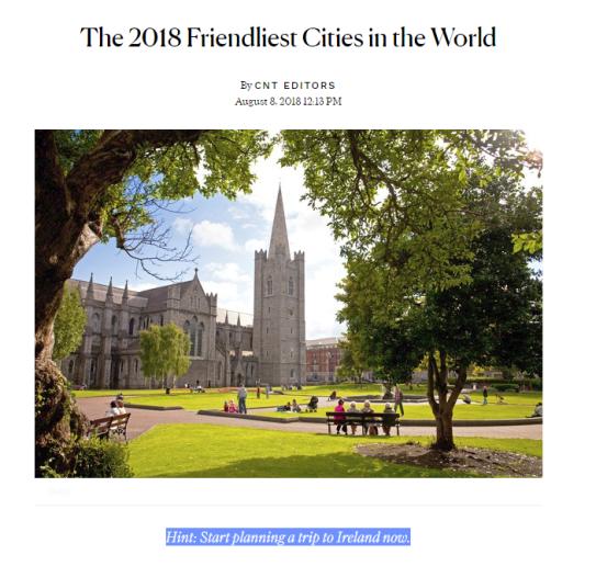 stiva teo, 愛爾蘭遊學,愛爾蘭旅遊,全世界最友善的城市 Condé Nast Traveler