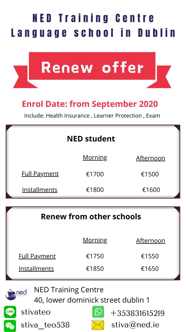 愛爾蘭遊學,NED 續簽 2020, 9月開始